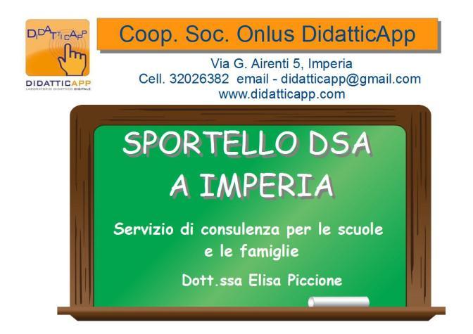 Coop. Soc. DidatticApp avvia lo sportello di consulenza DSA gratuito a Imperia